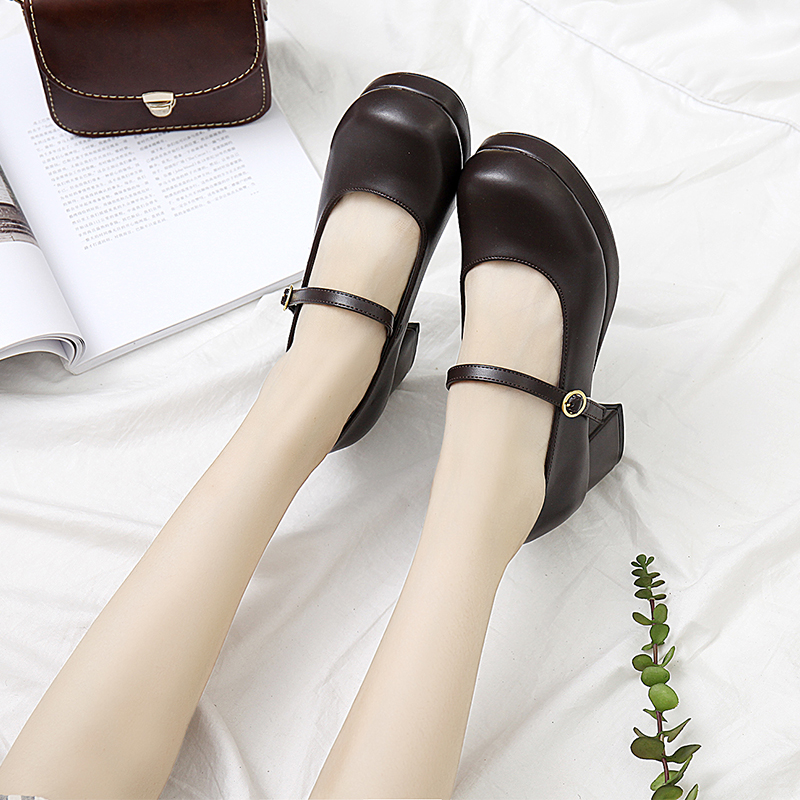 Japanese JK lolita shoes square head thick heel <font><b>women's</b></font> shoes anime cosplay solid kawaii shoes PU leather gothic shoes <font><b>loli</b></font> cos image