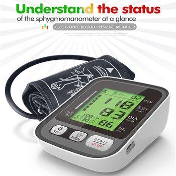 3 Color LCD Display Blood Pressure Monitors Household Health Sphygmomanometers Voice Function Tonometer Digital Cuff Tensiometer 1