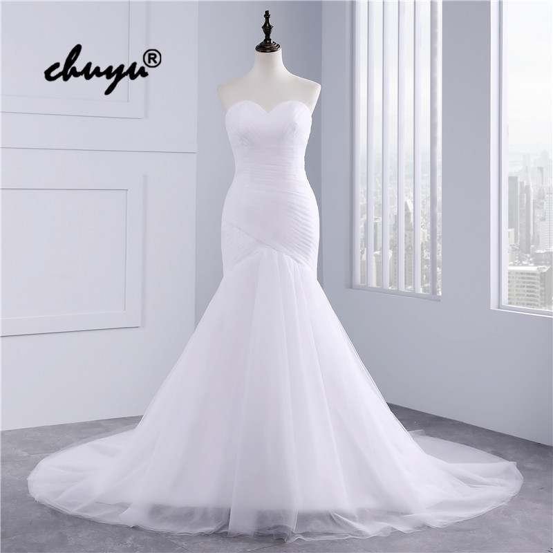Real Picture Muslim Wedding Dresses Tulle Strapless Mermaid Dubai Arabic Wedding Gown Bridal Dress