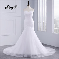 Real Picture Muslim Wedding Dresses Tulle Strapless Mermaid Dubai Arabic Wedding Gown Bridal Dress