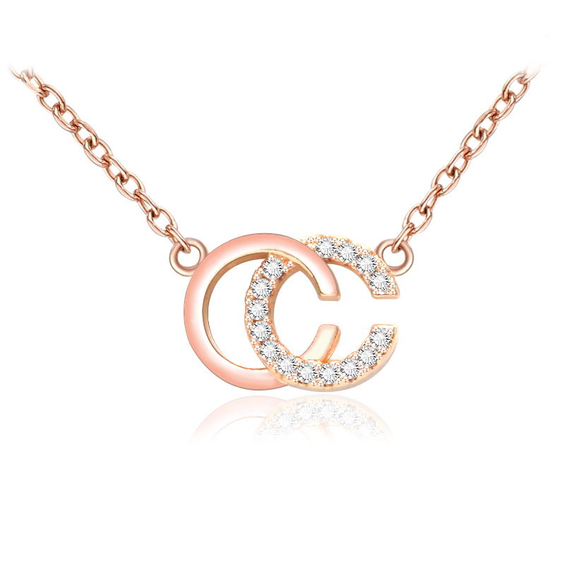 Simple Cc Letter Pendants Necklaces For Women Rose Gold Necklace Personalized Crystal Clavicle Chain Collar Mujer Couple Gift In Pendant Necklaces From Jewelry Accessories On Aliexpress