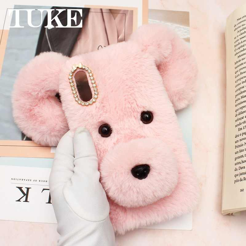 3D Cute Soft Fluffy Dog Warm Fur Case For Samsung Galaxy Note 10 Pro 9 8 5 S10E S10 S9 Plus S8 Active S7 S6 edge X Cover 4 Cover