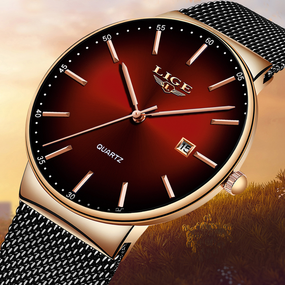 Ultra Thin Ladies Watch Brand Luxury Women Watches Waterproof Rose Gold Stainless Steel Quartz Calendar Wrist Watch Montre Femme