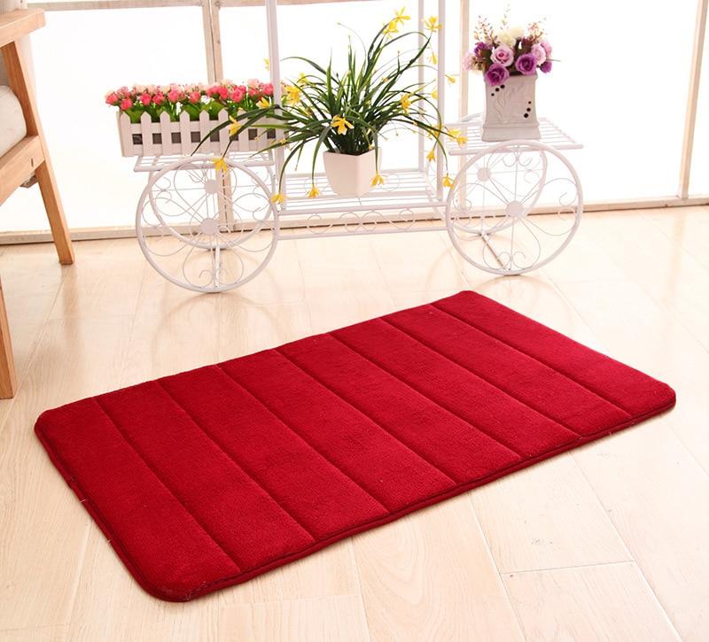 40*60cm Rebound Coral Velvet Carpet Horizontal Stripes Rug Absorbent Non-slip Bath Mats Bathroom Kitchen Doorway Carpe