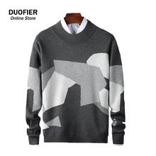 Men Pullovers 2021 New Korean Sweater Fashion Knit Clothing Mens Casual Patchwork O-Neck Sweaters Men's Oversized High Quality