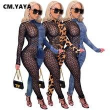CM.YAYA Hiver Automne Sexy À Lacets En Maille Voir Si Patchwork combinaison Femme Club Fête Une Pièce Globale Moulante Barboteuses Tenue