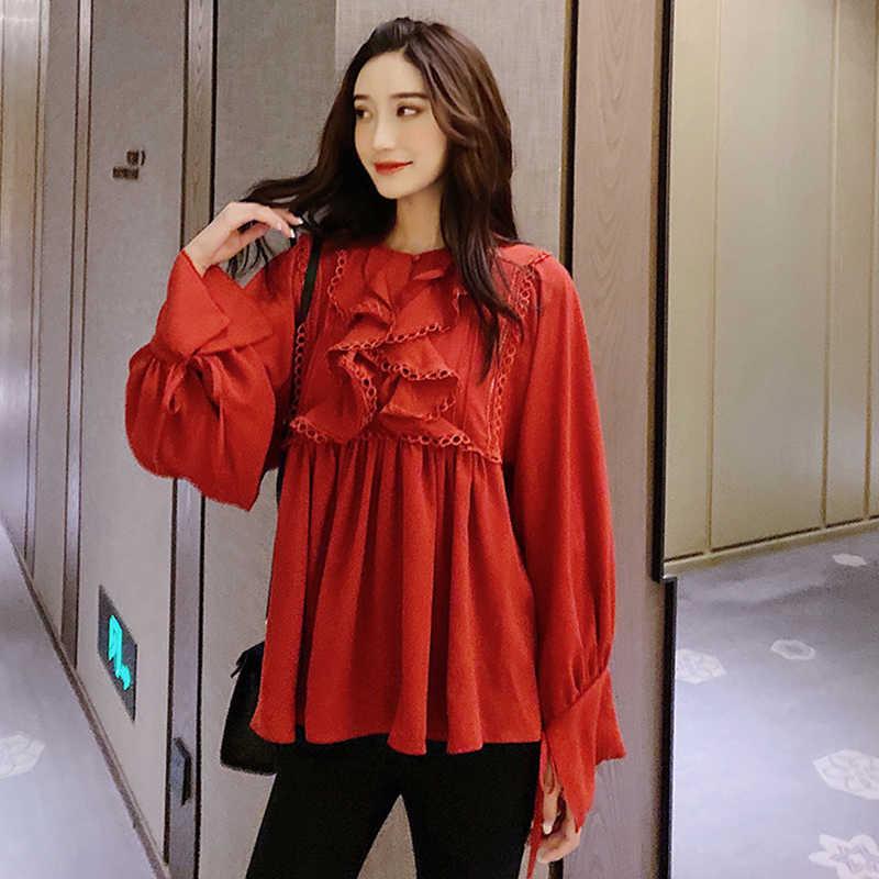 Autumn Winter Womens Ruffled Casual Chiffon Long Sleeve Korean Shirt Blouse Tops