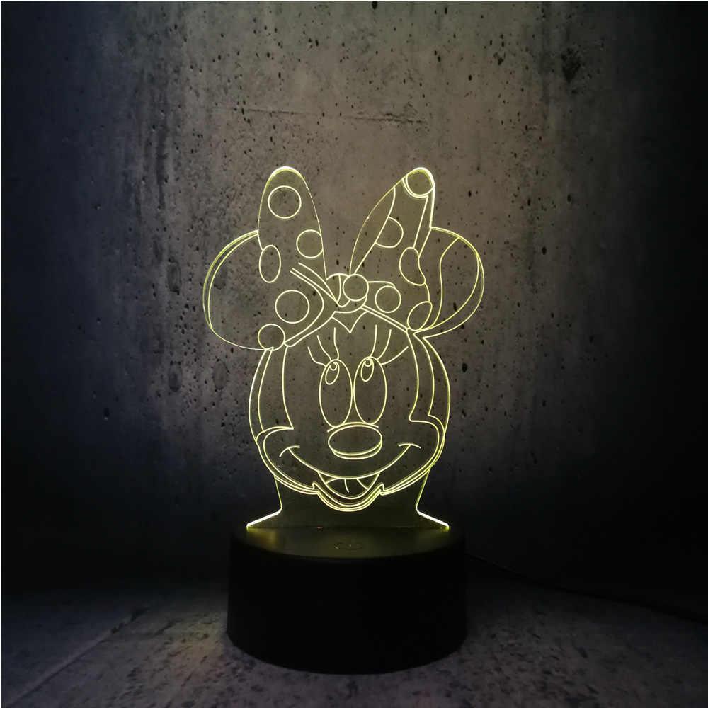 3D Lampe Minnie Maus Kopf LED Nachtlicht USB Weihnachten ...