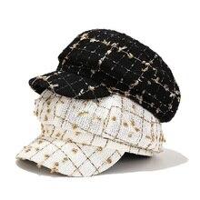 Cotton Autumn Winter New Fragrance Plaid Octagonal Hat Women British Retro Cap Versatile Newsboy Vintage Hat