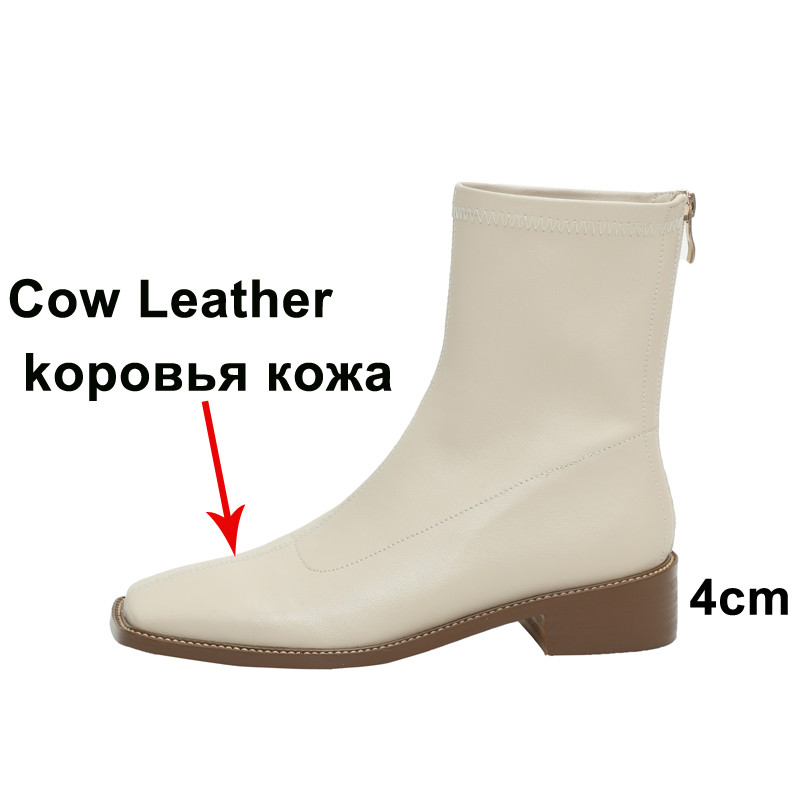 Meotina Ankle Boots Women Shoes Genuine Leather Mid Heel Short Boots Square Toe Block Heels Zipper Boots Female Shoes Khaki 40