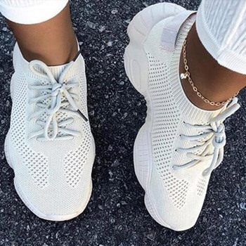 Hot 2020 Mesh Sneakers Women Vulcanized Shoes Ladies Slip On Breathable Knited Flat Platform Autumn Spring Flats Woman Plus Size