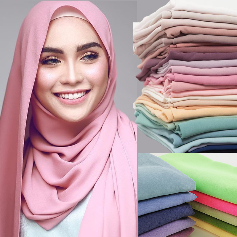 Popular 2020 New Style Muslim Hijabs Scarves/scarf Women Plain Bubble Chiffon Scarf Hijab Wrap Solid Shawls Headband Underscarf