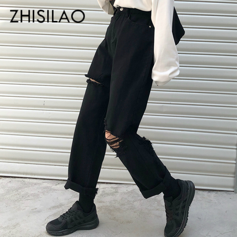 Black Ripped Jeans For Women Jeans Boyfriend Vintage High Waist Wide Leg Straight Denim Pants Jeans Mom Summer 2020 Jeans