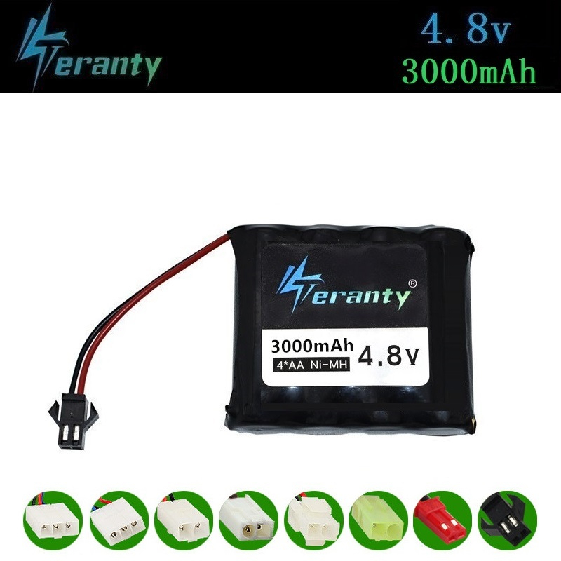 3000mah 4.8v Rechargeable Battery For Rc Toys Cars Tanks Robots Gun NiMH Battery AA 4.8v 2400mah Battery Pack For Rc Boat 1PCS