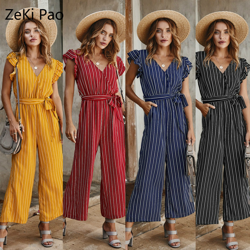 Fashion Street Women's 2020 Spring And Summer Temperament Striped Print Sexy Jumpsuit Lotus Leaf Sleeve V-neck Lace Casual Pants
