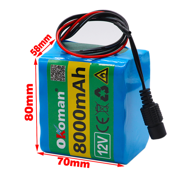 3s3p  12V 8Ah  battery pack  18650 lithium ion 12V 8000mAh DC12.6V super large capacity rechargeable battery with BMS + charger