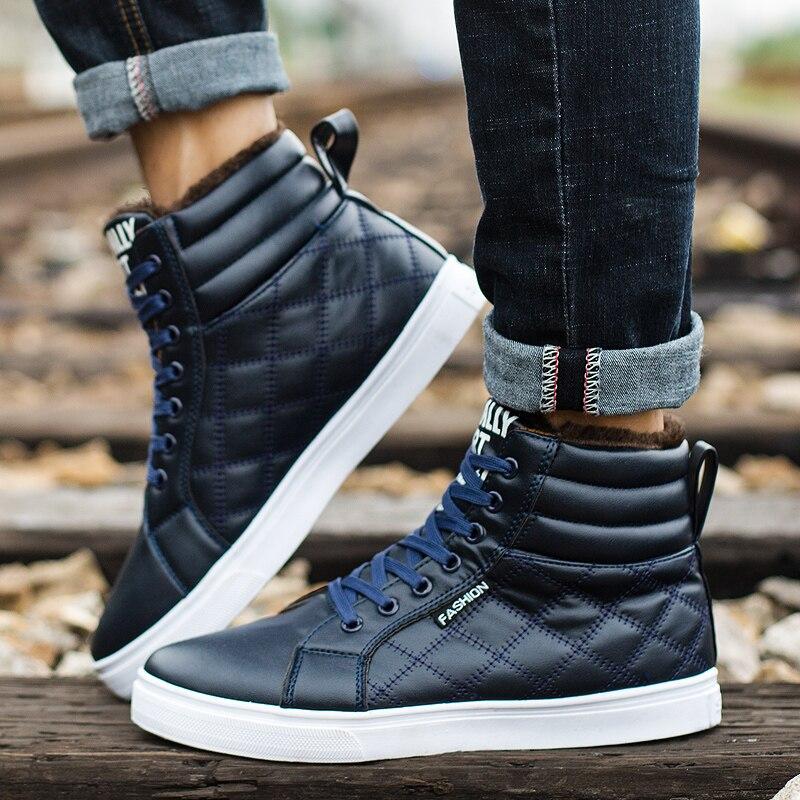 Image 4 - VESONAL 2019 зимние модные кожаные высокие кроссовки мужская обувь с мехом плюш теплая Повседневная Классическая удобная мужская обувь-in Мужская повседневная обувь from Обувь