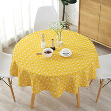 Geometric 150cm Tablecloth Round For Table Cotton Linen Home Kitchen Wedding Cloth Yellow Gray Dining Cover Nappe