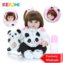 KEIUMI 18 ''новорожденный силиконовый Menina Reborn Baby Doll Милый Панда мультфильм Bebê день детей подарки с 3 шт. заколки для волос