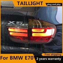 Estilo do carro para bmw x5 e70 2007 2013 lanterna traseira para bmw x5 lâmpada traseira drl + freio parque + luz de sinal feita em taiwan