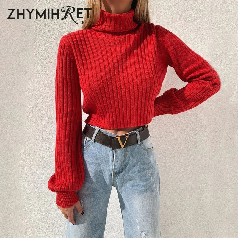 ZHYMIHRET Red Turtleneck Knitted Sweater Casual Long Sleeve Women Pullover 2019 Autumn Winter Crop Tops Fashion Jumper Female
