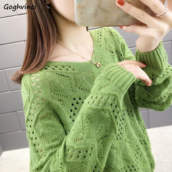Sweaters Women Spring V-neck Hollow Out Solid Large Size 4XL Pullovers Knitting Loose Korean-style Long Sleeve Autumn Trendy New