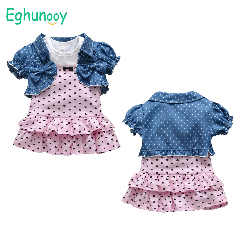 Летний комплект одежды для маленьких девочек, милое хлопковое платье принцессы без рукавов, милый жилет с комбинированным рисунком, наряды ...
