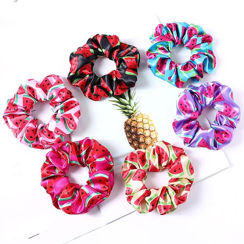 Women Satin Scrunchies Elastic Hair Bands Floral Bright Color Hair Scrunchie Girls Ponytail Holder Hair Ties Accessories 2020