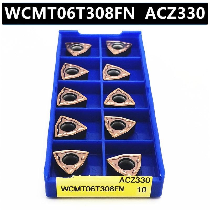 10PCS WCMT06T308FN ACZ330 Carbide Insert Turning Tool Turning Milling Cutter CNC Cutting Tool Slot Cutting WCMT06T308