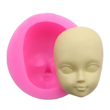 2019 New 1Pc DIY Girl Face Silicone Mold Fondant Molds Cake Decorating Tools Woman Mask Gumpaste Mould Polymer Clay Resin Molds(China)