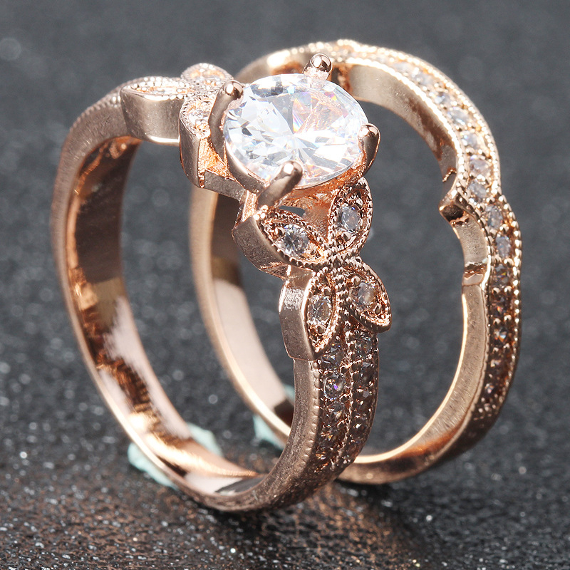 14K Rose Gold Leaf Diamond Ring Set for Woman Luxury Anillos Wedding Pure Gemstone Round White Topaz Rings Fine Jewelry