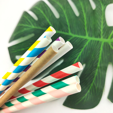 Paper Straws EOC Drink-Tool Disposable Cocktail Foil Stripe Single-Use 24pcs/Pack