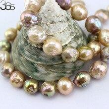 Collier coloré et coloré pour eau douce Edison, grand bijou rond, rempli de perles dorées, 10 à 12mm, 18 pouces, livraison gratuite