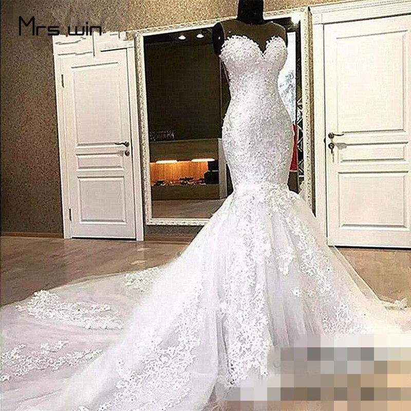 Mrs Win Wedding Dress O-neck Sleeveless Wedding Dresses Elegant Mermaid Vestido De Noiva Plus Size Lace Bridal Ball Gowns HR020
