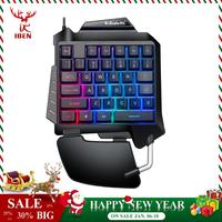 Single Hand USB Wired 35 Keys Gaming Keypad Membrane keyboard RGB Breathing Light Keyboard For PUGB LOL