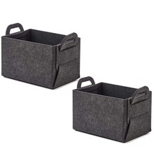 2 Pcs Storage Felt Baskets Box -Collapsible Large Closet Bins with Handle Laundry Organizer Sturdy Shelf Baskets(China)