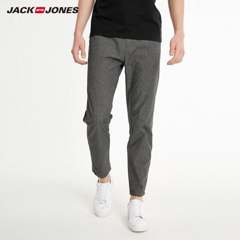 JackJones Men's 100% Cotton Smart Casual Plaid Printed Pants Trousers Style 219114563