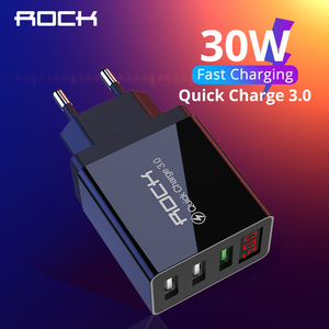 ROCK LED Display QC 3.0 3A 3 USB Phone Charger Fast Charging For iPhone Xiaomi Samsung Fast EU Wall Adapter Turbo
