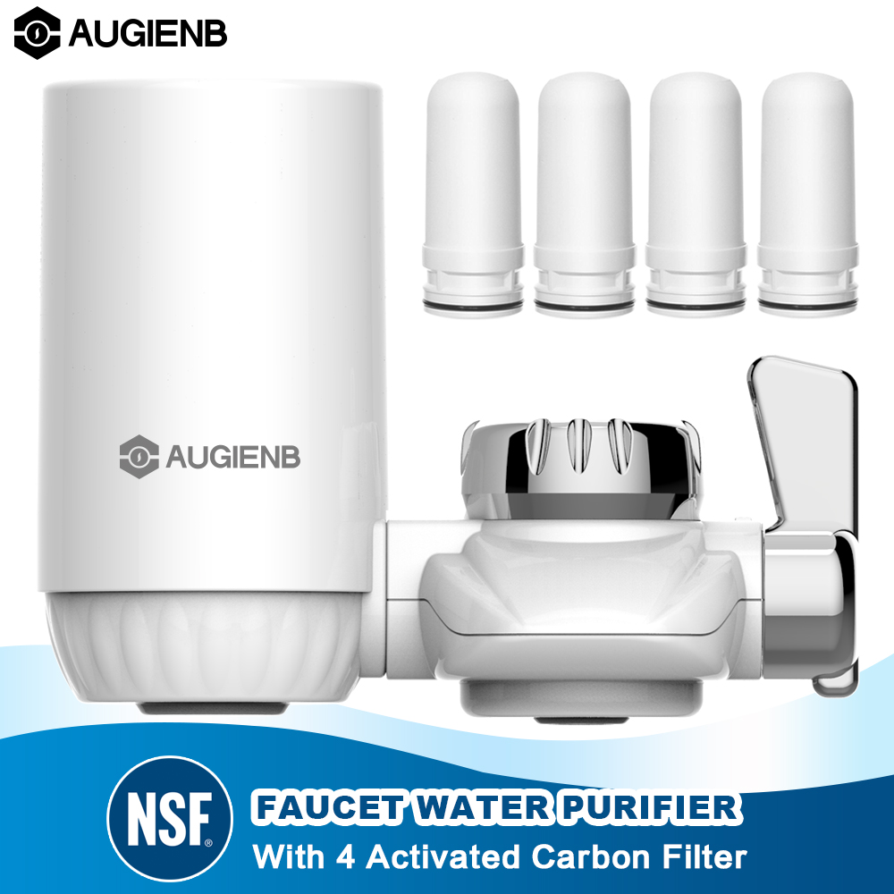 AUGIENB Kitchen Tap Faucet Water Filter Purifier - 4 Activated Carbon Ceramic Cartridge - Reduce Chlorine, Odor, Contaminants