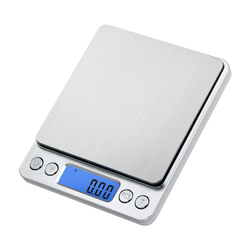 Portátil Mini balança Eletrônica Escalas de Alimentos Caso Bolso Jóias Peso Balanca Cozinha Postal Balança Digital Com 2 Bandeja 500g x 0.01g
