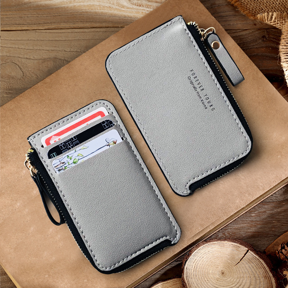 Blevolo New Fashion PU Short Wallet  Korean Zipper Wallet Creative Coin Purse Casual Business Card Holder Ultra-thin Wallet