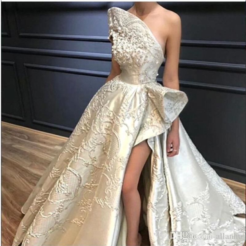 Luxury Lace Appliqued Wedding Dress Princess Sexy High Side Slit Strapless A-Line Wedding Gown Backless Floor Length Bride Dress