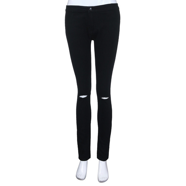 white jeans women black ripped jeans Casual Slim Solid Hole Long Jeans Zippers Sexy Skinny Pants Daily Trousers джинсы женские