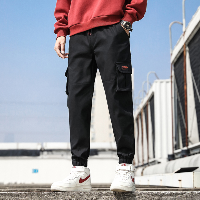 2019 New Style Pants Men's Fashion Casual Pants Korean-style Teenager Students Slim Fit Bib Overall Men's 97% Cotton
