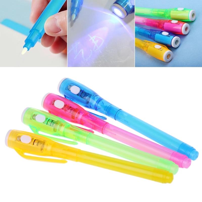 Волшебная Невидимая ручка с чернилами, записывающий секретный гаджет для сообщений, УФ-светильник, канцелярские принадлежности