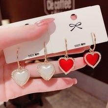Милые серьги в форме сердца корейский жемчуг декоративные стразы