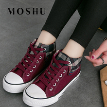 Women Sneakers Black Canvas Shoes Lace-up Casual Vulcanize