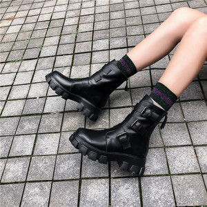 Image 5 - Fedonas 패션 버클 여성 오토바이 부츠 나이트 클럽 신발 여성 겨울 정품 가죽 여성 발목 부츠 플랫폼 부츠