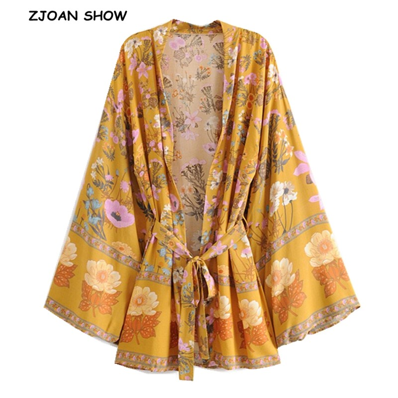 2019 New Women Bohemian Yellow V Neck Flower Print Kimono Shirt Holiday Beach Tide Bow Sashes Mid Long Cardigan Blouse Tops