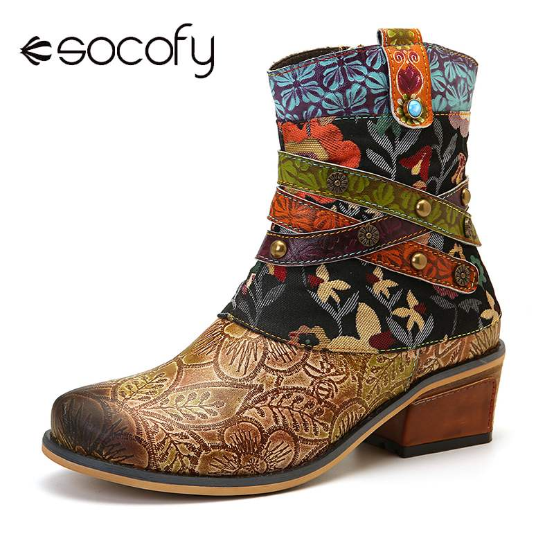 SOCOFY Retro Boots Low Heel Hand Printed Pattern Genuine Leather Comfy Flat Boots Ladies Shoes Women Botines Mujer 2020 Spring